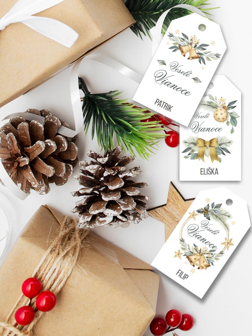 Vianočné štítky na blíčky romantické