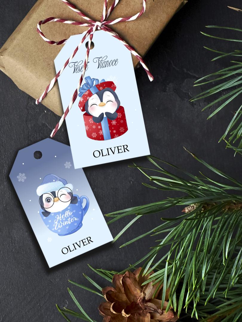Vianočné štítky na balíčky veselé