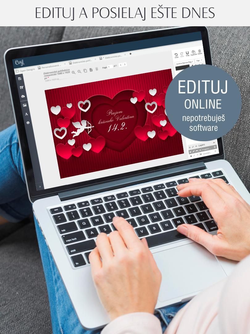 Valentínsky pozdrav edituj online