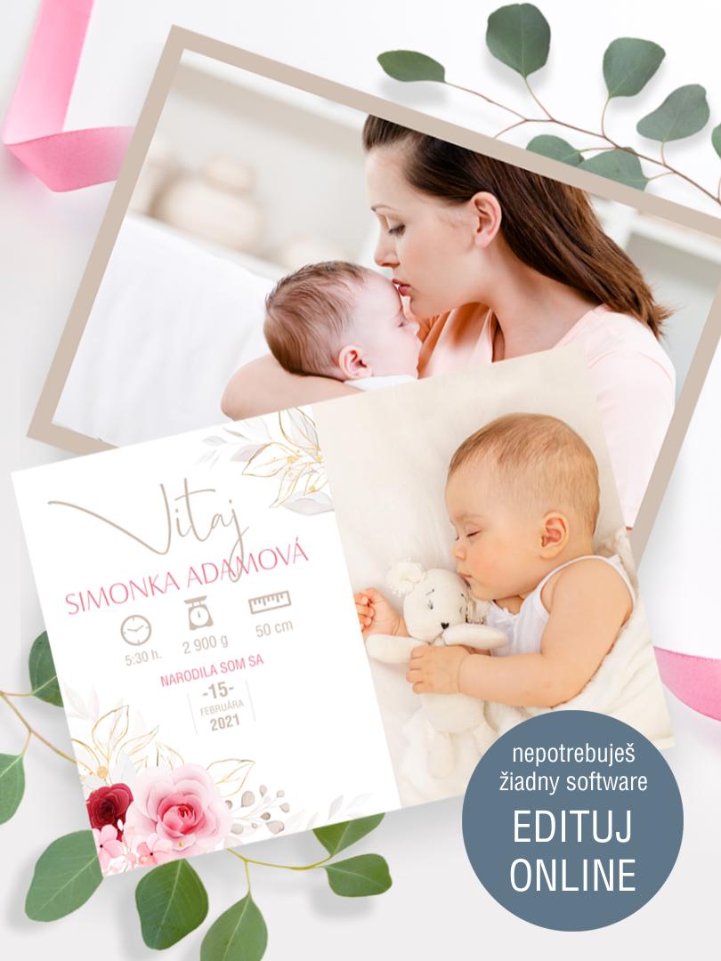 Pohľadnica k narodeniu dieťaťa