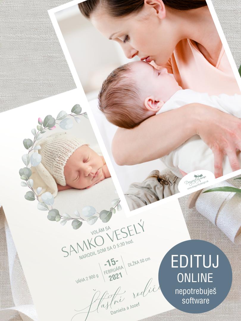 Oznámenie o narodení dieťaťa s online personalizáciou