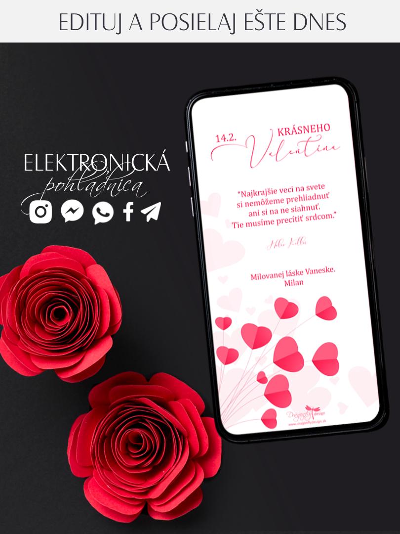 Elektronická valentínka s jemnými srdiečkami