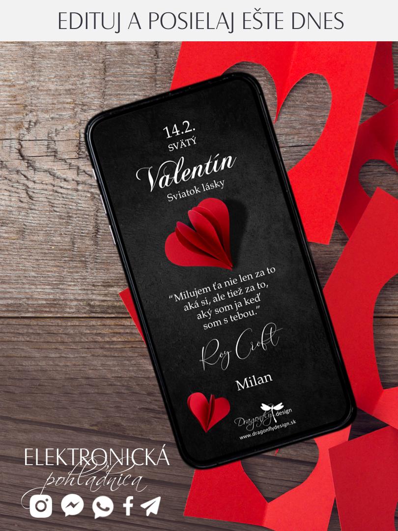 Elektronická valentínka elegantná