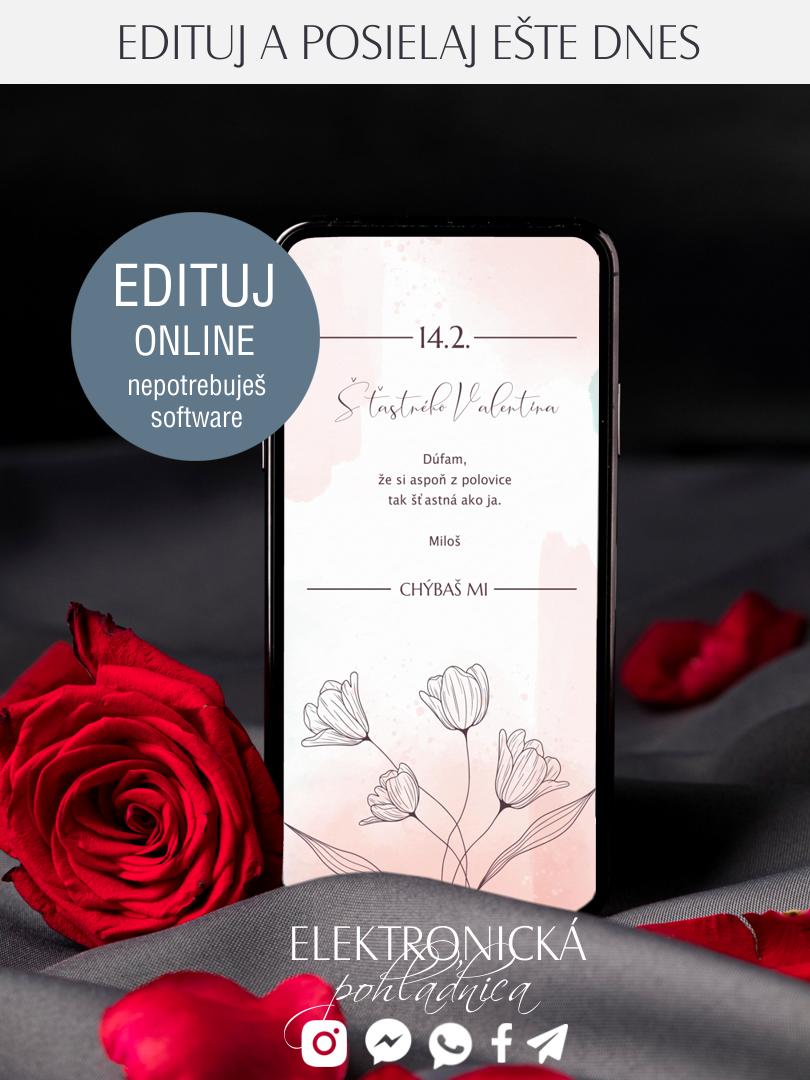 Elektronická valentínka s maľovanými tulipánmi