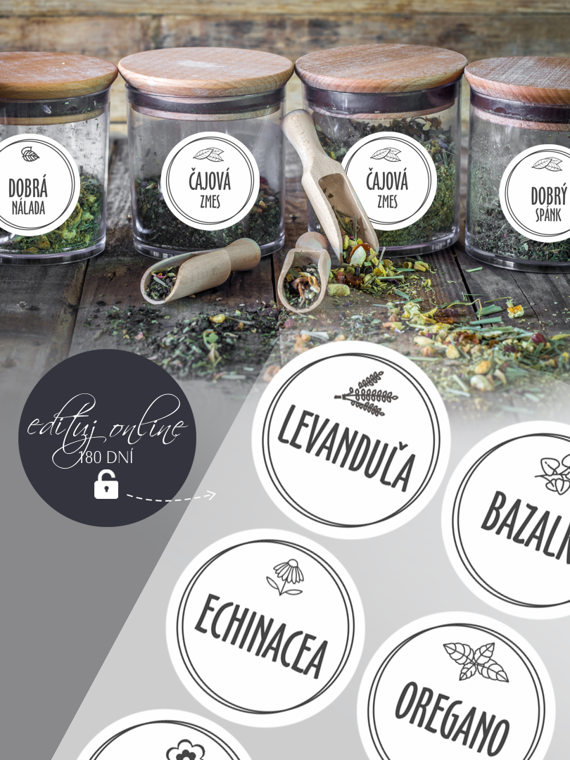 Etikety na bylinky s vlastným textom