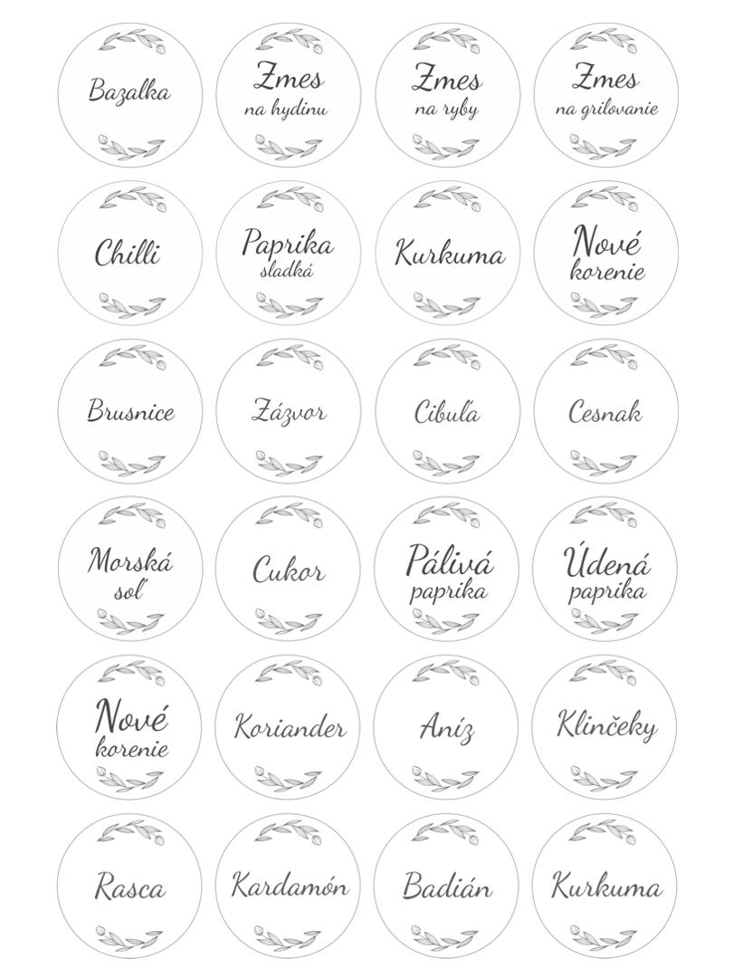 samolepiace etikety na koreničky