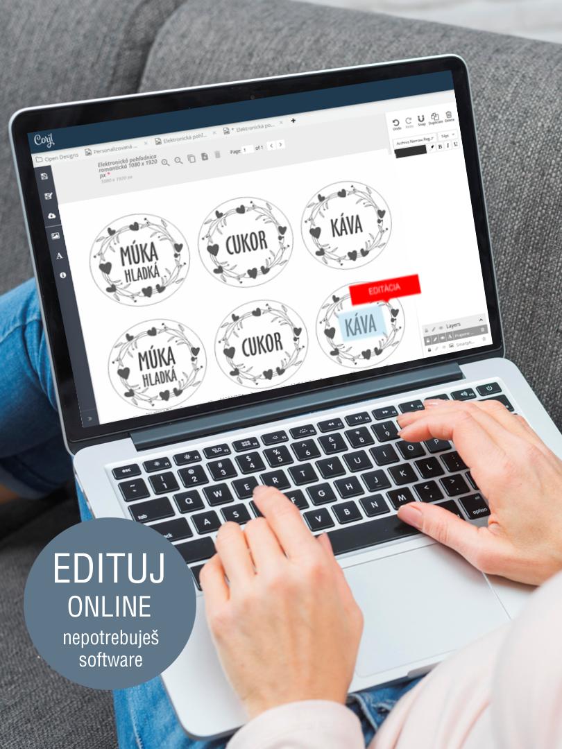 Etikety na koreničky s online editáciou
