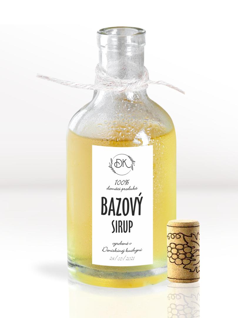 Etikety na fľaše s bazovým sirupom