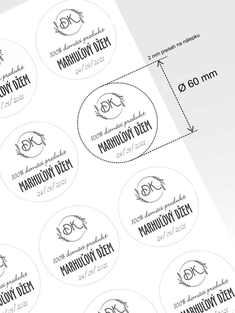 Etikety na lekváre na tlač s editáciou, priemer 60 mm