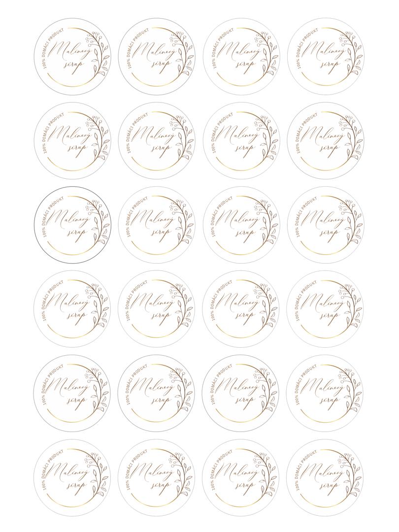 Etikety na malinový sirup na stiahnutie